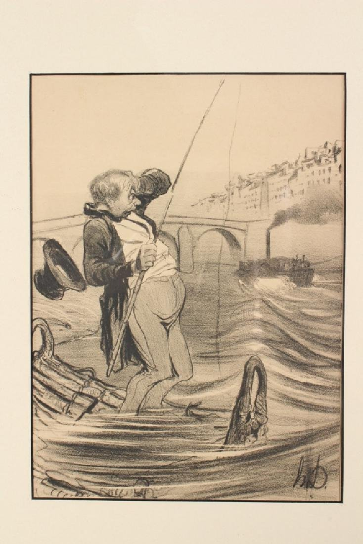 3 Honore Daumier Fishing Caricatures - 3