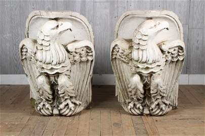Pair Architectural Glazed Terracotta Eagles