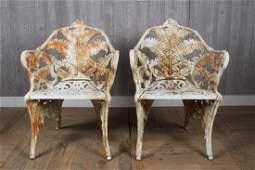 2 Cast Iron Fern Chairs