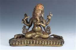 Rare Antique Bronze Temple Ganesh