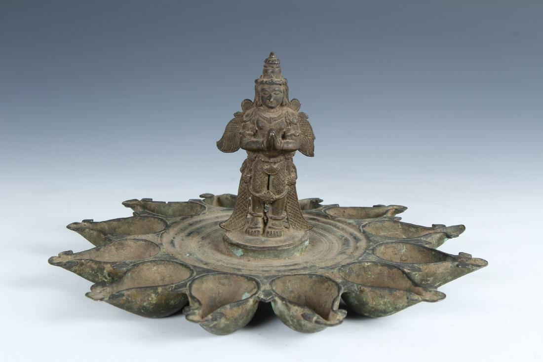 Antique Ornate Bronze Indian Puja Lamp with Garuda