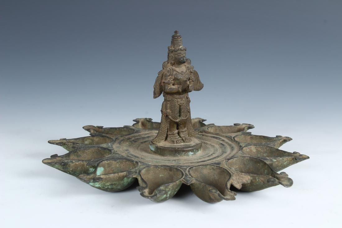 Antique Ornate Bronze Indian Puja Lamp with Garuda - 3