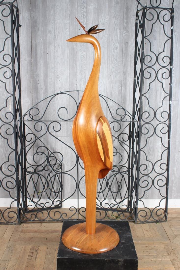 Folk Art Carved Wood Heron