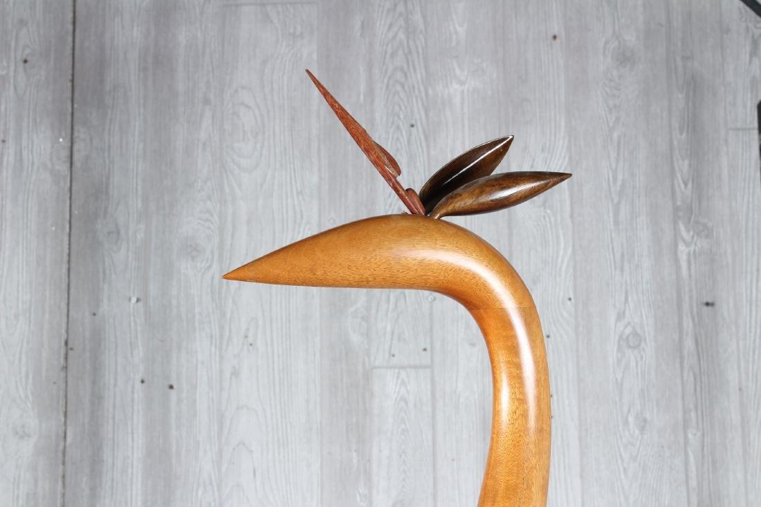 Folk Art Carved Wood Heron - 2