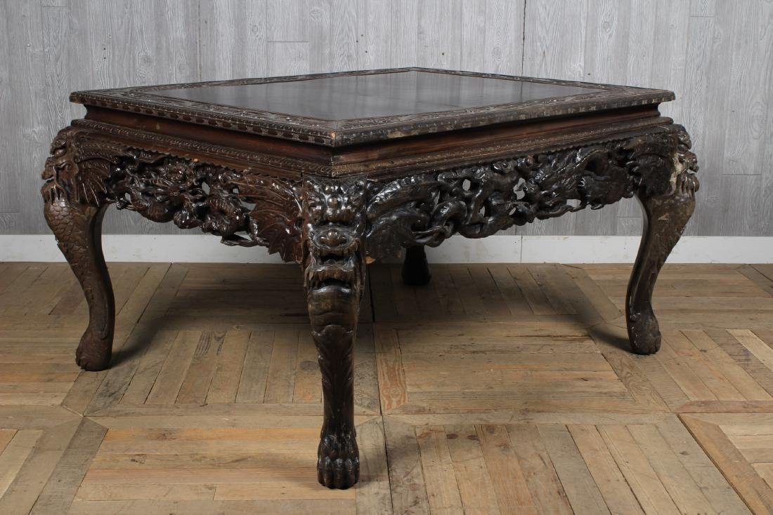 Carved Dragon Leg Table - 3