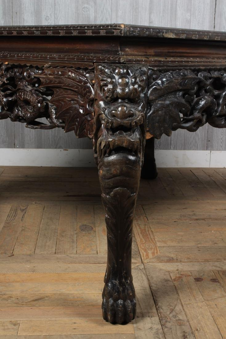 Carved Dragon Leg Table - 4
