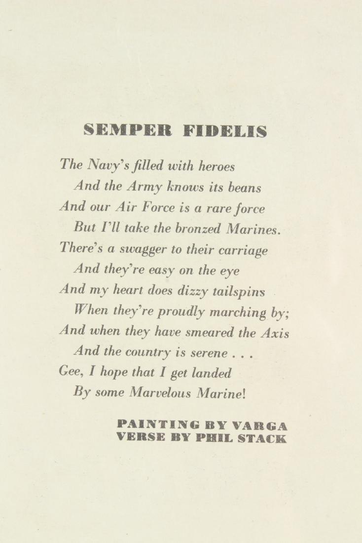 Framed Varga Esquire Pin-up Semper Fidelis - 2