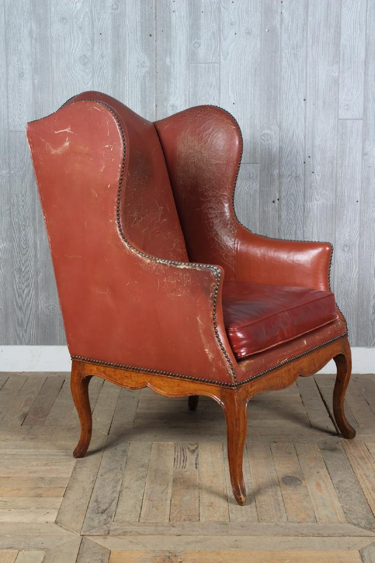 19th C French Leather Wingback Armchair