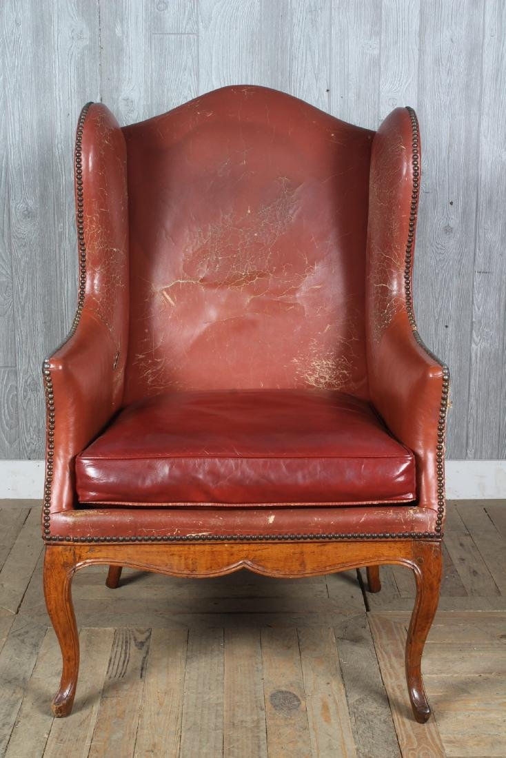 19th C French Leather Wingback Armchair - 2