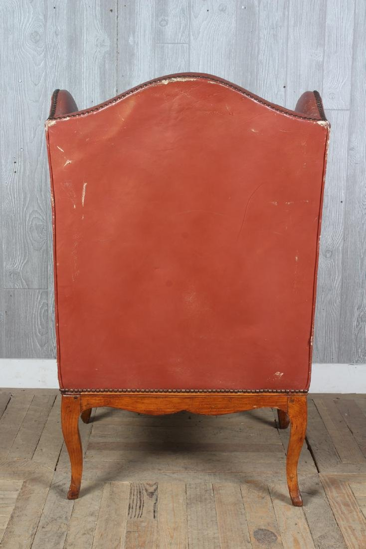 19th C French Leather Wingback Armchair - 3