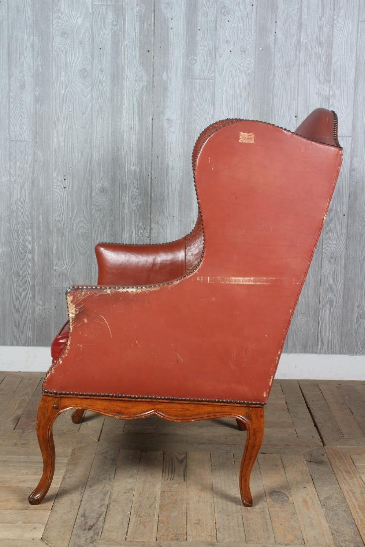 19th C French Leather Wingback Armchair - 4