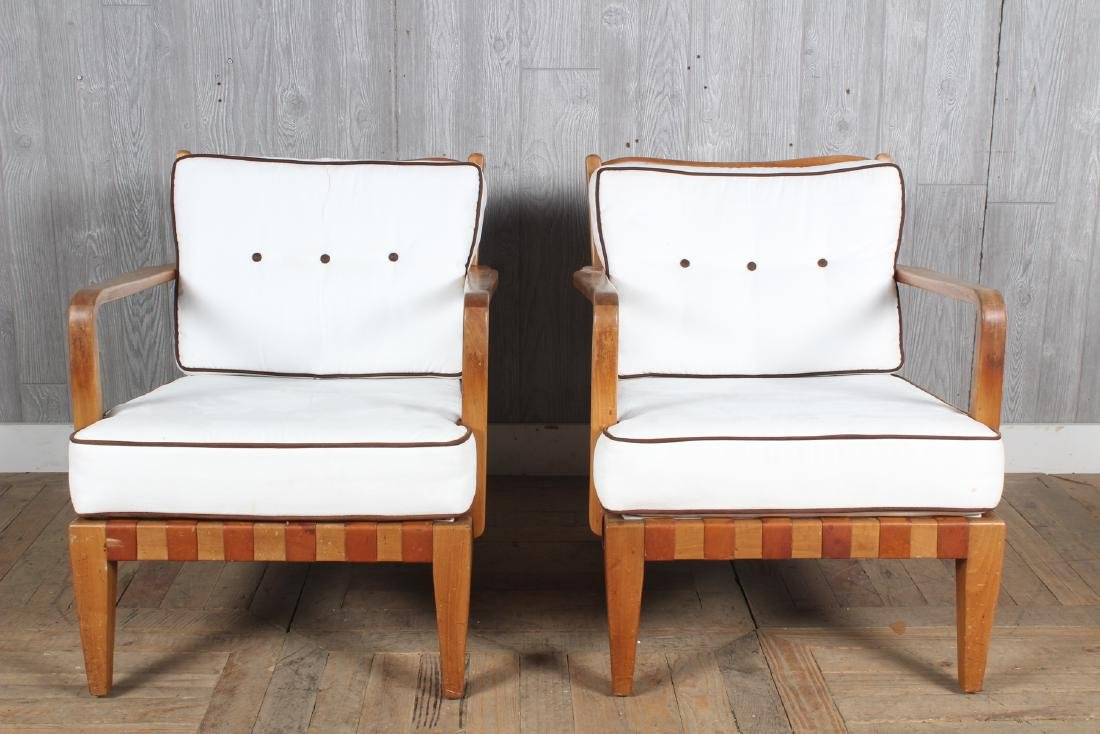 Pair Mid Century Modern Open Arm Chairs