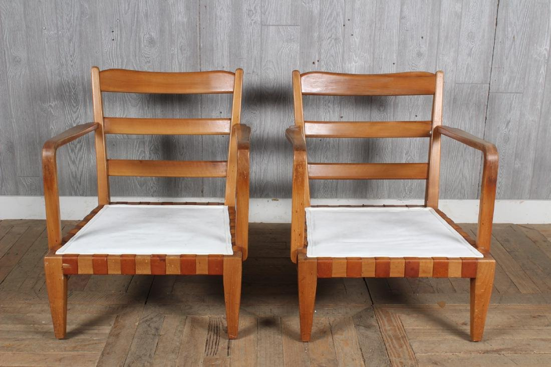 Pair Mid Century Modern Open Arm Chairs - 2