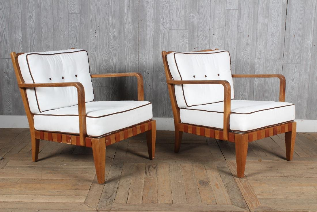 Pair Mid Century Modern Open Arm Chairs - 3