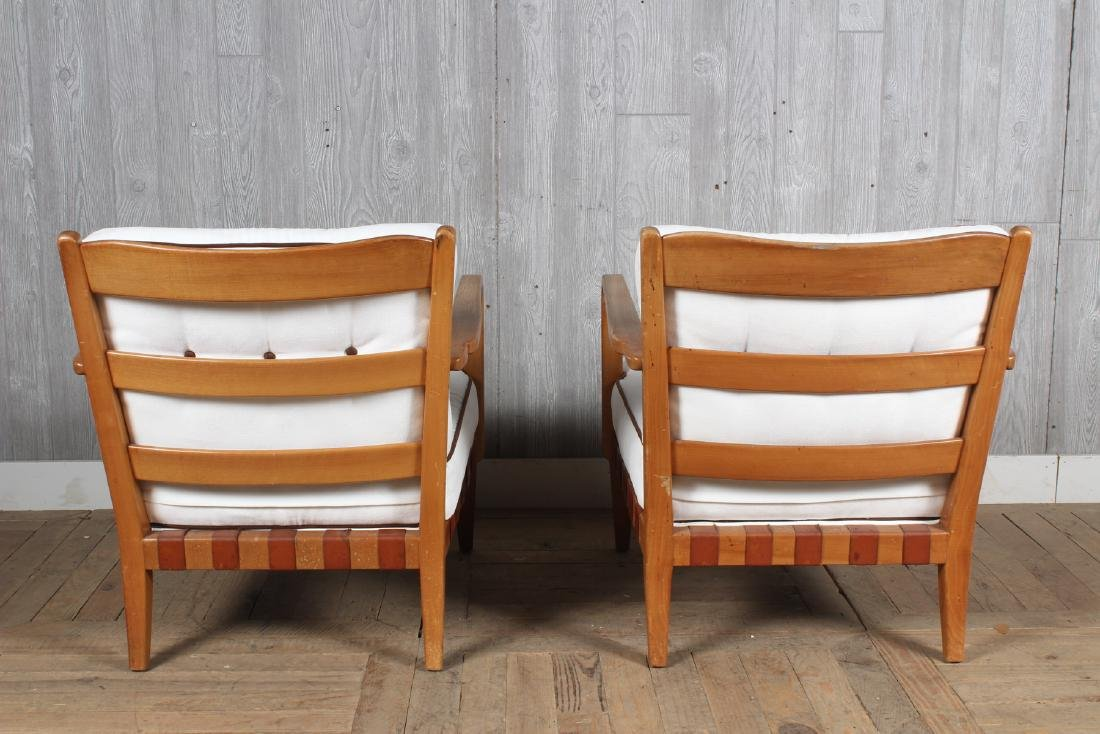 Pair Mid Century Modern Open Arm Chairs - 4