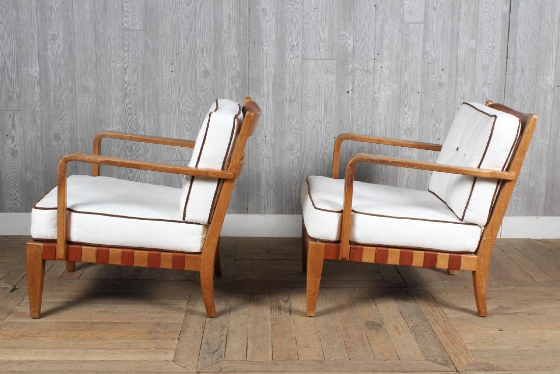 Pair Mid Century Modern Open Arm Chairs - 5