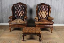 Chesterfield Style Suite of Chairs and Stool