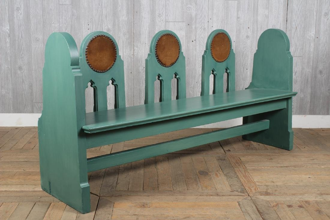 Folk Art Fraternal Lodge Bench - 2