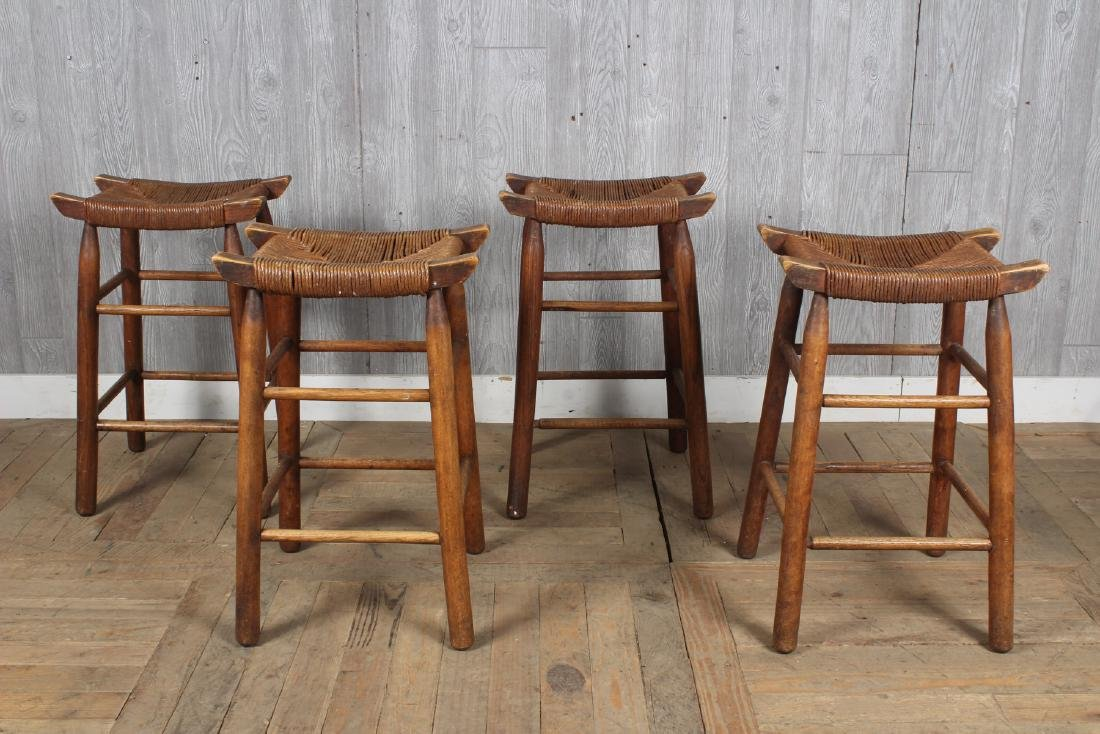 4 Charlotte Perriand Style Stools with Rush Seats