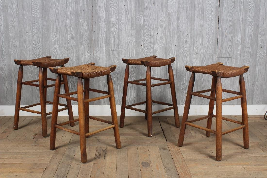 4 Charlotte Perriand Style Stools with Rush Seats - 2