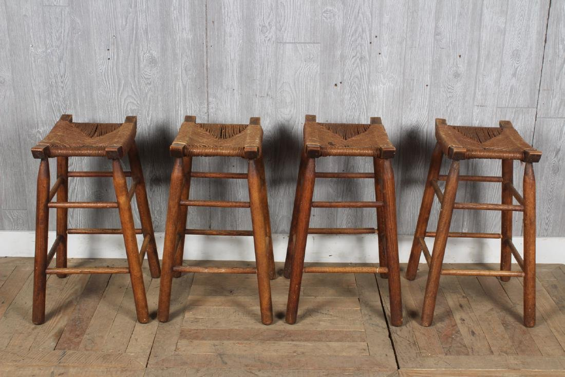 4 Charlotte Perriand Style Stools with Rush Seats - 3