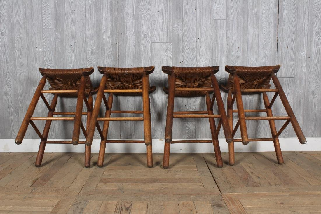 4 Charlotte Perriand Style Stools with Rush Seats - 4