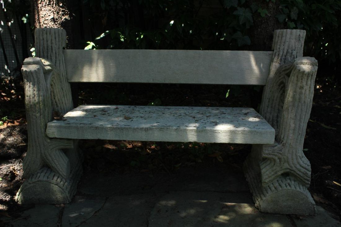 19th C Faux Bois Carved Limestone Garden Bench