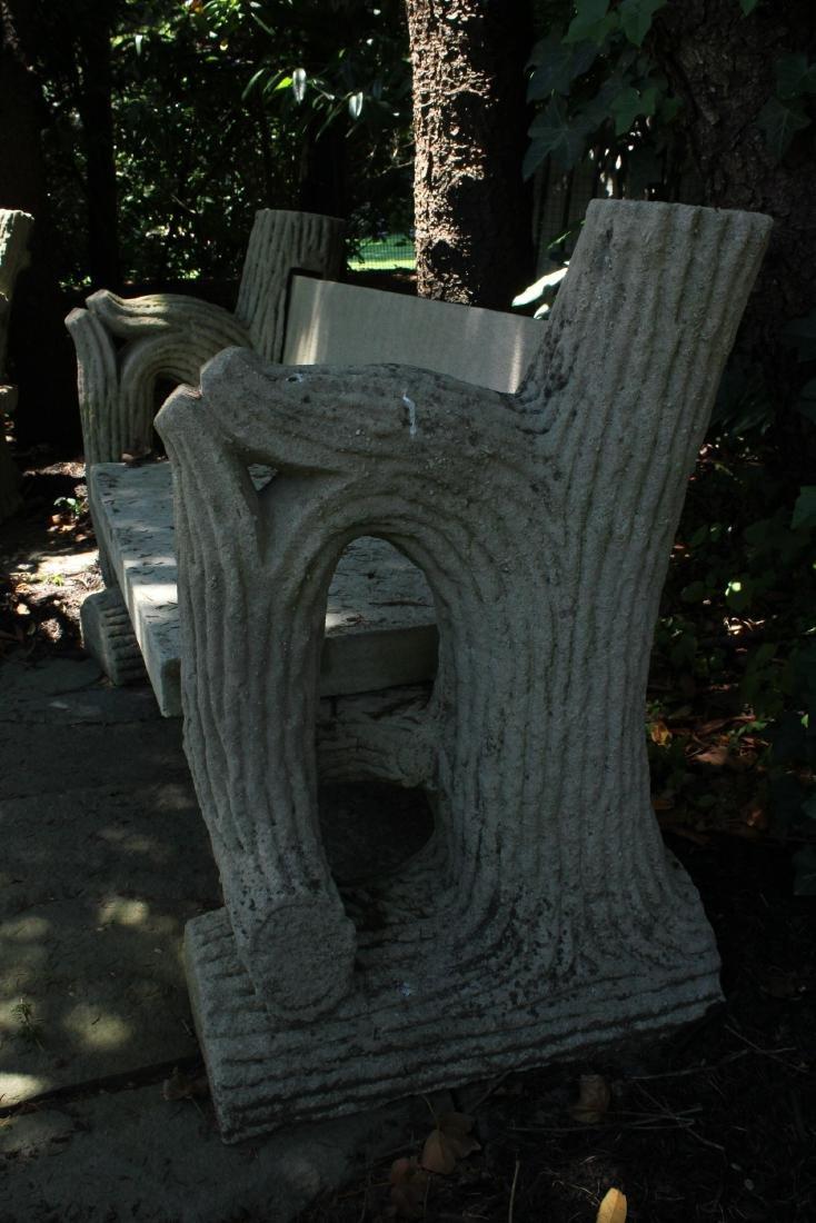 19th C Faux Bois Carved Limestone Garden Bench - 2