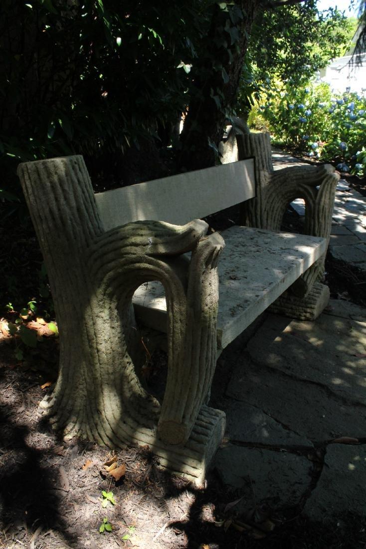 19th C Faux Bois Carved Limestone Garden Bench - 3