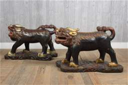 Pair Chinese Carved Wood Guardian Qilin