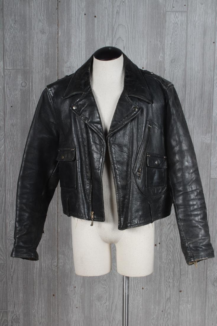 Vintage Studded Leather Motorcycle Jacket