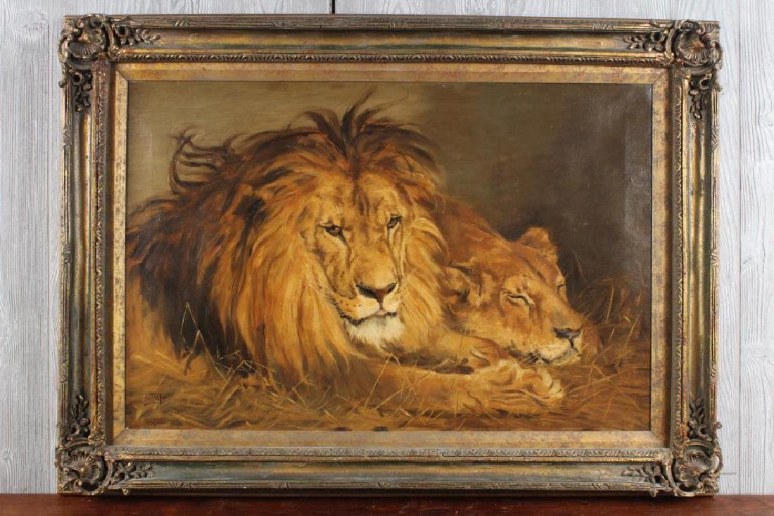 Antonio Barzaghi-Cattaneo? Lion Painting.