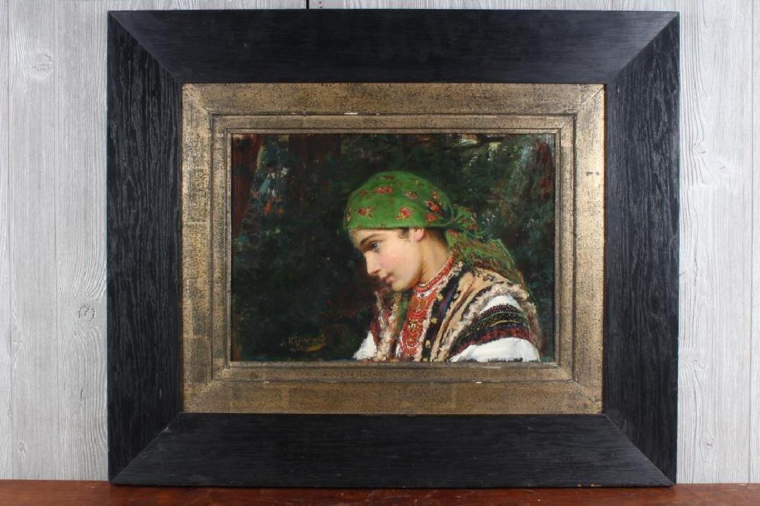 Russian School Peasant Girl Painting