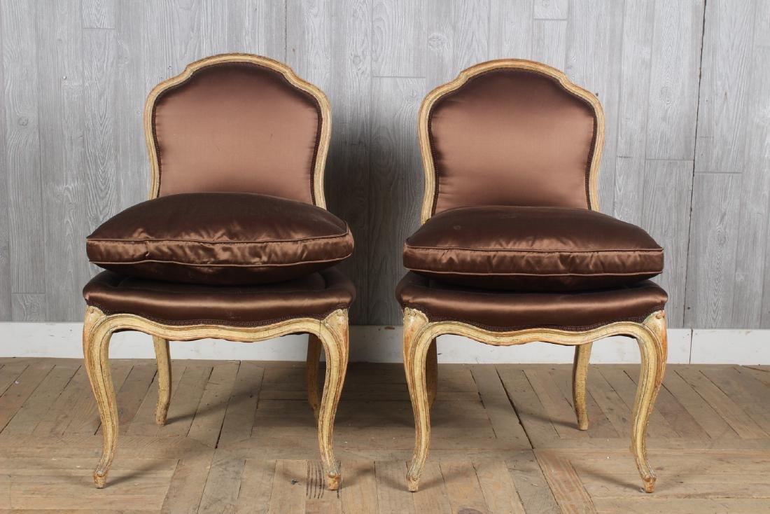 Pair Louis XV Style Slipper Chairs