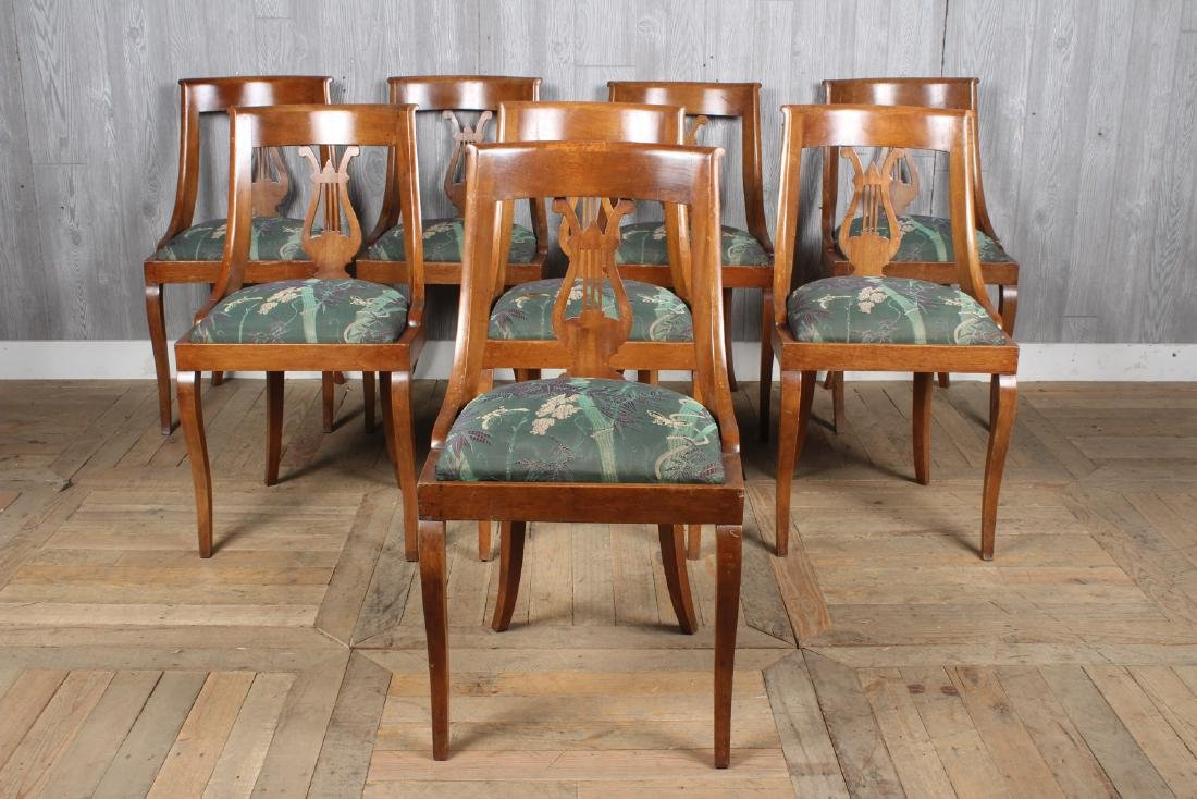 8 Directoire Style Lyre Back Dining Chairs