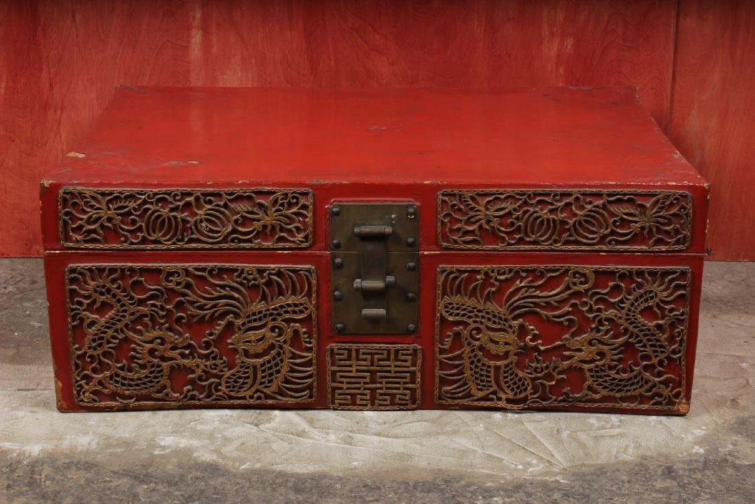 Chinese Pigskin Trunk w Appliques