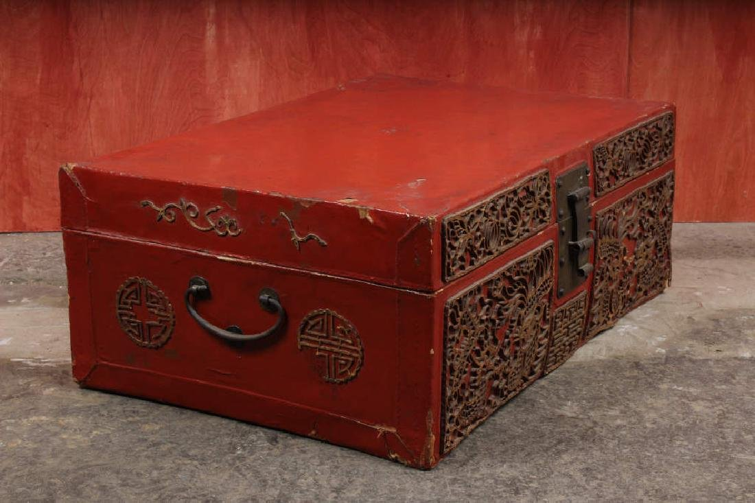 Chinese Pigskin Trunk w Appliques - 2