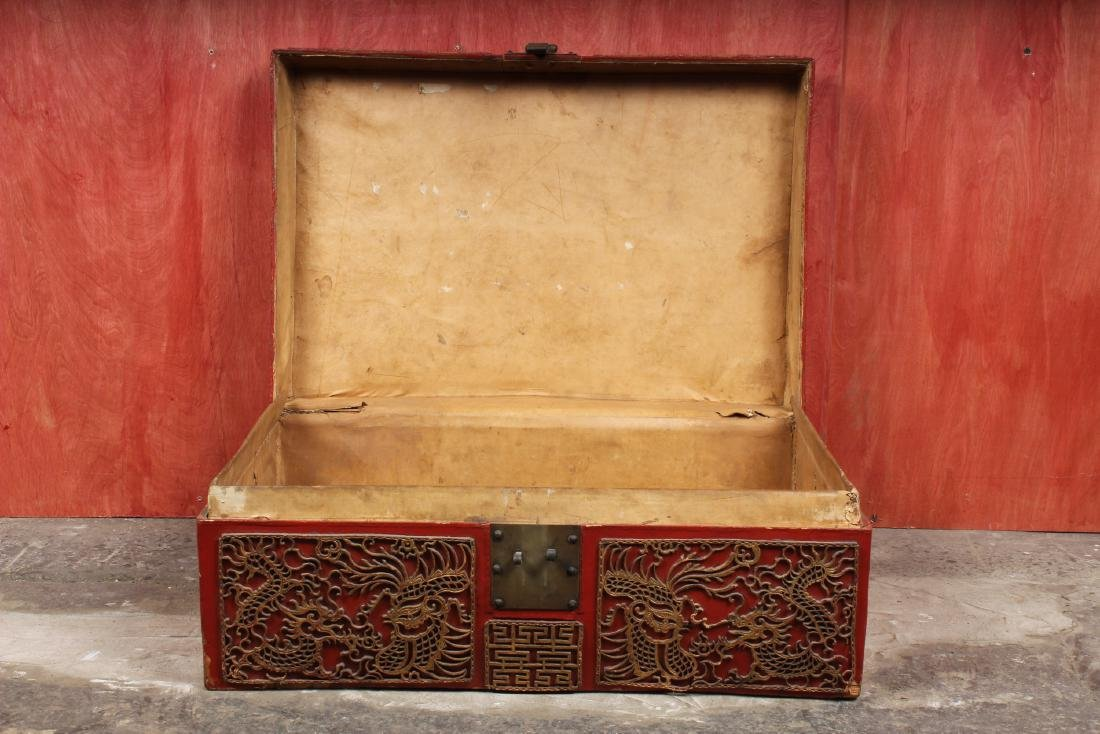 Chinese Pigskin Trunk w Appliques - 3