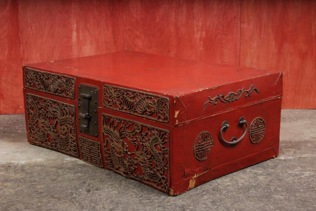 Chinese Pigskin Trunk w Appliques - 4