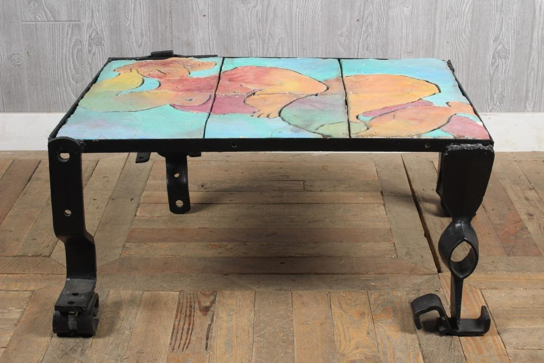 Industrial Coffee Table with Mosaic Figure Top