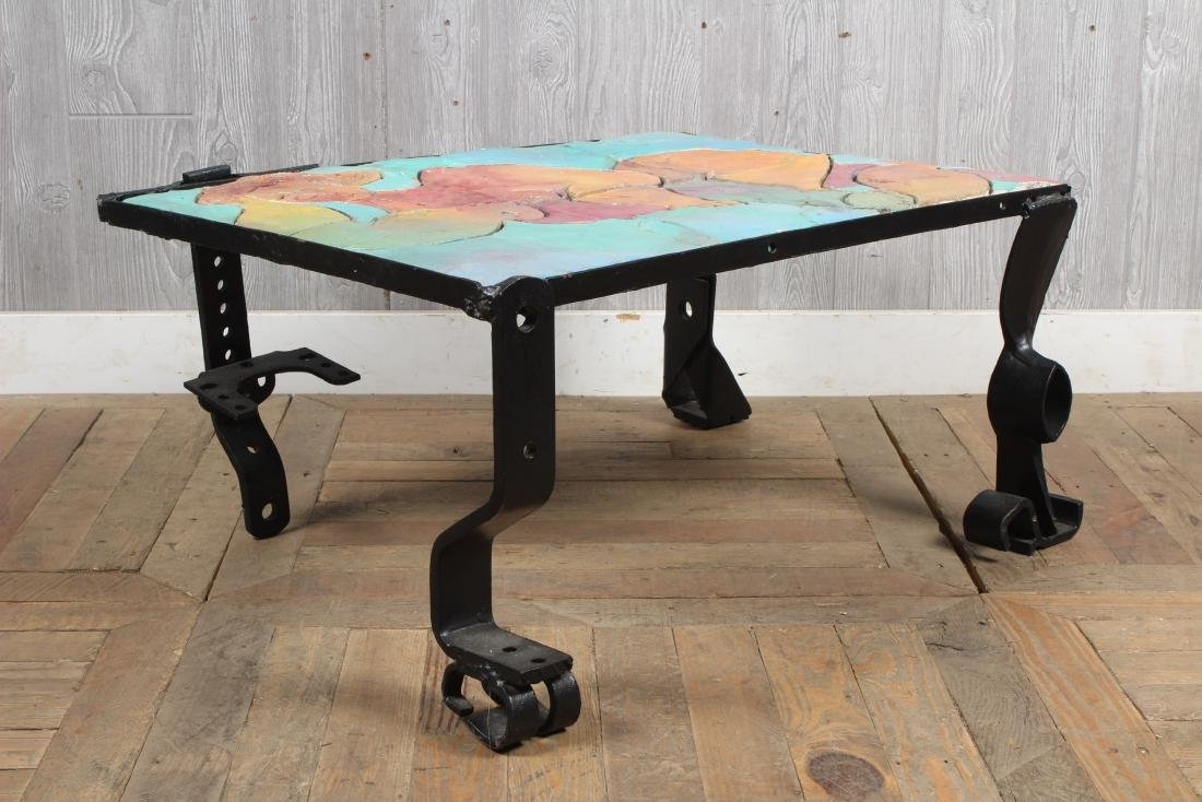 Industrial Coffee Table with Mosaic Figure Top - 3