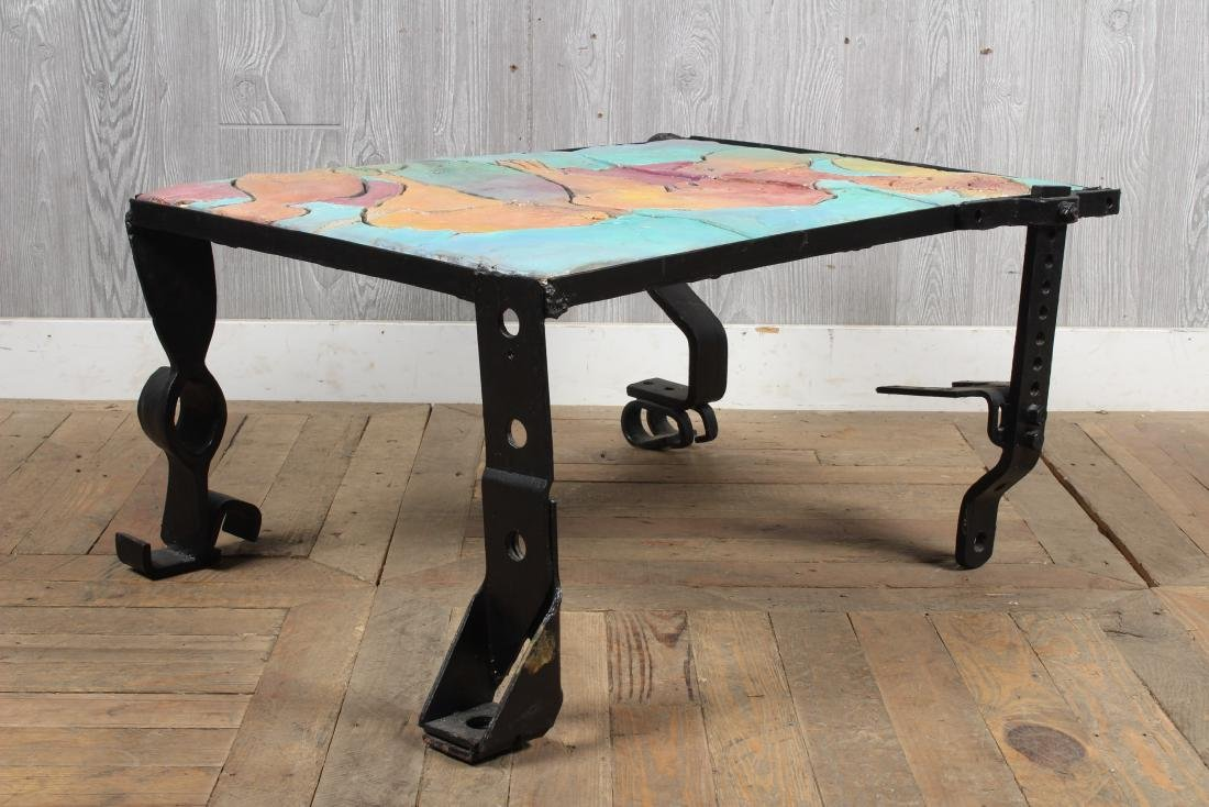 Industrial Coffee Table with Mosaic Figure Top - 4