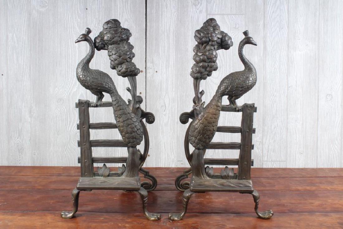 Pair Bronze Peacock Andirons