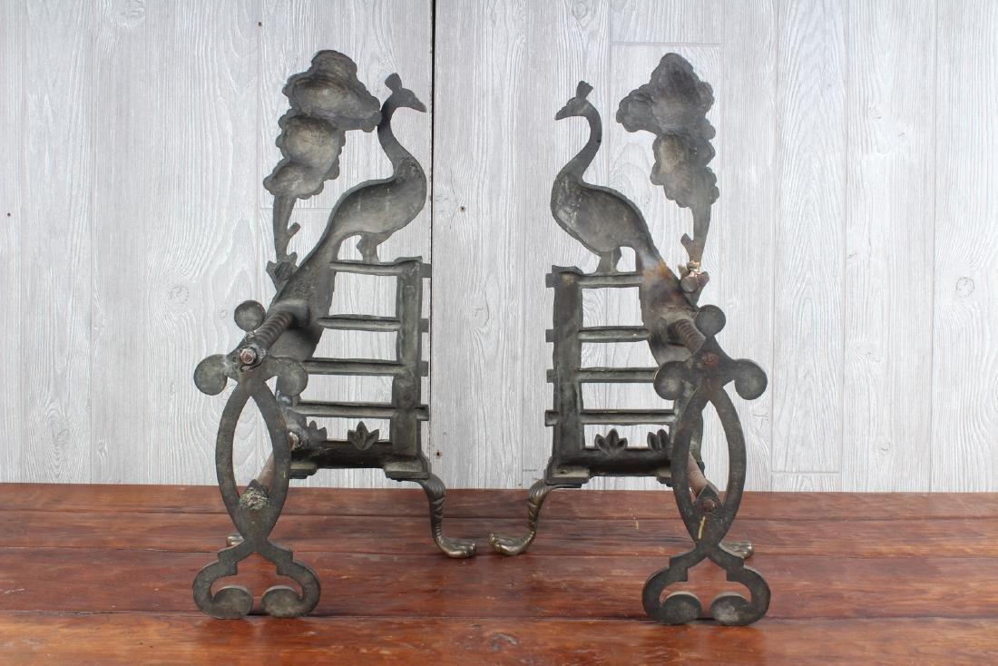 Pair Bronze Peacock Andirons - 3