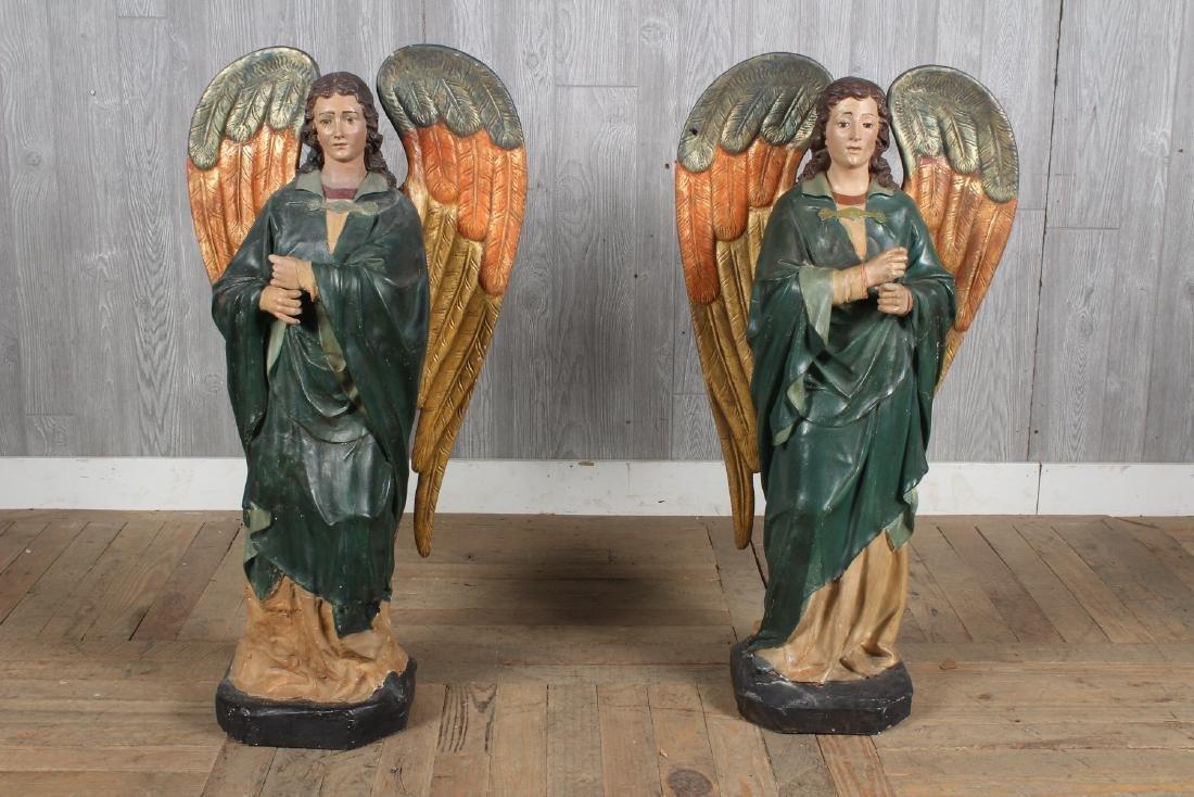 Antique Continental Polychrome Papier Mache Angels