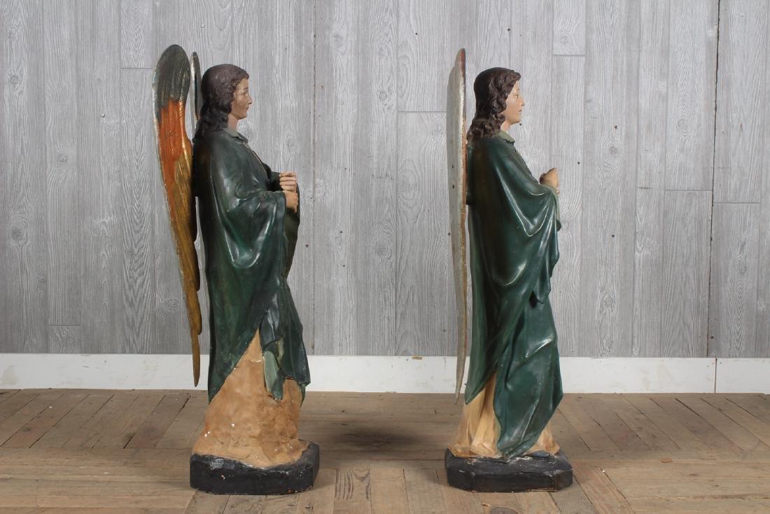 Antique Continental Polychrome Papier Mache Angels - 2
