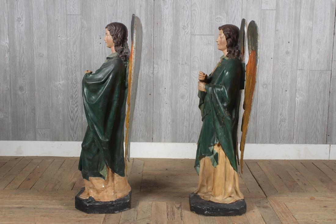 Antique Continental Polychrome Papier Mache Angels - 4
