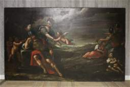 Antique Old Masters Style Allegorical Mural