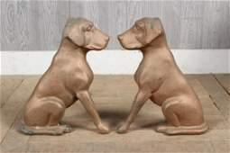 Pair Bronze Dog Andirons