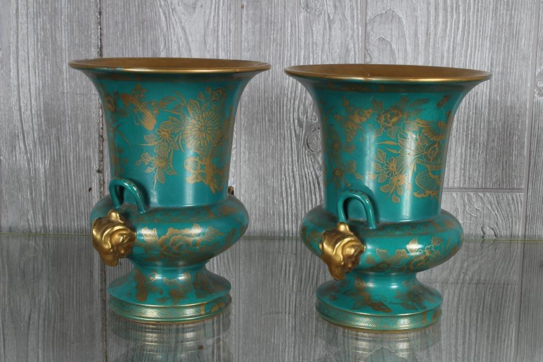 Pair Porcelain Sevre Style Urns Marked - 2